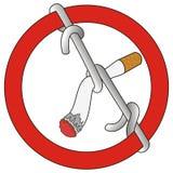 Stoppen Sie, Zeichen gebundene Zigarette zu rauchen Stockbild