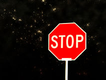 Stoppen Sie Zeichen gegen nächtlichen Himmel Lizenzfreies Stockbild