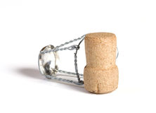 Stopper. Champagne cork close up on a white background Stock Image