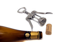 Stopper; corkscrew; bottle Royalty Free Stock Images
