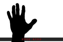 Stoppet BISTÅR begreppet, isolerade stoppHJÄLPMEDEL, den skriftliga SIDAEN förestående Royaltyfria Foton
