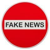 Stoppet fejkar nyheterna som inget tillträdestecken isolerade över vit arkivfoton