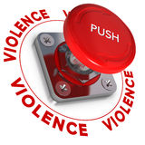 Stopping Domestic Violence. Emergency button wit the word violence around it over white background. Conceptual illustration of domestic violences Royalty Free Stock Images