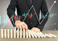 Stopping domino concept. Business solution Stock Photo