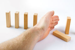 Stopping the domino effect Stock Photos