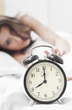 Stopping the morning alarm Royalty Free Stock Photo