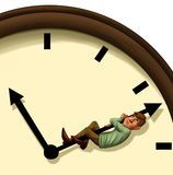 Stopping the time. Executive concerned trying to stop the time Royalty Free Stock Photography