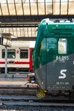 Two trains at the station royalty free stock photography