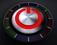 STOPPknapp med glödande röda ljus på den mörka konsolen Royaltyfri Bild