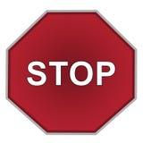 Stoppschild auf nur weißem Hintergrund Englisch Stockfotografie