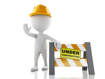 Stoppschild der weißen Leute 3d mit Sturzhelm Im Bau concep Lizenzfreies Stockbild