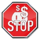 Stoppschild, Dollar, Energie, Sicherungsstrom und Energie vektor abbildung
