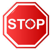 Stoppschild mit Uhr Stockfoto