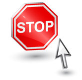 Stoppschild- und Computerpfeilmaus. Stockbild