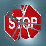 Stoppschild zerbrochen Lizenzfreies Stockbild