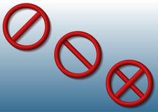 Stoppschilder 3d von verschiedenen Arten mit Schatten auf blauem Steigungshintergrund Lizenzfreie Stockfotografie
