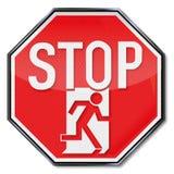 Stoppschildmann flieht durch eine Fluchtwegtür stock abbildung