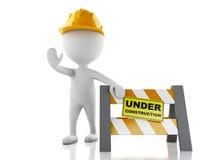 stopptecken för vitt folk 3d med hjälmen Under konstruktionsconcep Royaltyfri Bild