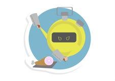 Stoppuhr, die eine Fleisch-Illustration hackt Lizenzfreies Stockbild