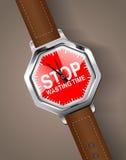 Stoppuhr - hören Sie auf, Zeit zu vergeuden Stockfotografie