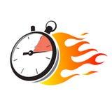 Stoppuhr mit Feuerflamme Lizenzfreie Stockfotos