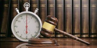 Stoppuhr-, Timer- und Richterhammer auf Gesetzbuchhintergrund Abbildung 3D stock abbildung