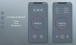 Stoppuhr- und Timer-Uhranwendung UI-Handy stock abbildung
