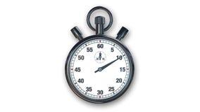 Stoppuhr, Zeitinstrument lokalisiert auf weißer, Vorderansicht Lizenzfreie Stockfotos