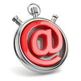 Stoppur och symbol av mejl On-line service Royaltyfri Fotografi
