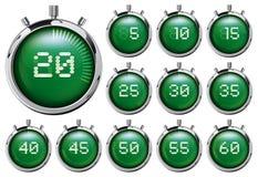 Stoppur Uppsättning av gröna digitala tidmätare Royaltyfri Foto