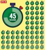 Stoppursymboler ställde in i plan stil från 0 till 60, sporthastighetsklocka Klockatidmätare 0 till 60 sekunder samling stock illustrationer
