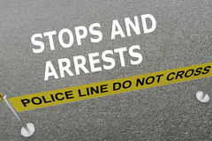 Stops and Arrests concept. Render illustration of Stops and Arrests title on the ground in a police arena Stock Photo