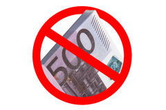 Stops selling 500 euro. 500 euro banknotes and stop sign, the concept illustrates UK exchange offices stops selling 500 euro notes over crime fears, image Stock Photo