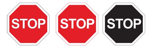 Stops Signs. Three Stops Signs: Red, Black and White and Normal Royalty Free Stock Photos
