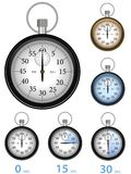 Stopwatch. Vector illustration of stop watches with different positions of a second arrow. The stop watch looks very realistic and is given in two additional Royalty Free Stock Photos