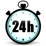 Stopwatch 24h icon. Vector illustration of stopwatch icon on white background Stock Image