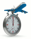 Stopwatch and airplane on white background Stock Photos
