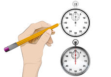 Stopwatch as isolated human hand drawing vector Stock Photos