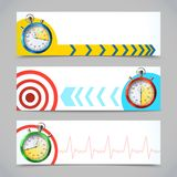 Stopwatch banners horizontal Royalty Free Stock Image