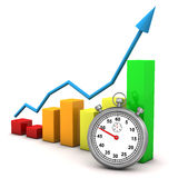 Stopwatch and graph stock illustration