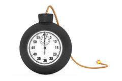 Stopwatch in Black Bomb with Wick. 3d Rendering Stock Photo