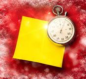 Stopwatch and blank sticker Royalty Free Stock Images