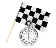 Stopwatch with checkered flag. Sport concept. Stopwatch with checkered flag on a white background Royalty Free Stock Images
