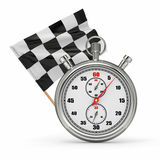 Stopwatch with checkered flag. Start - finish. 3d Royalty Free Stock Image