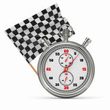 Stopwatch with checkered flag. Start or finish. 3d Royalty Free Stock Photo