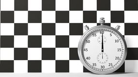 Stopwatch with checkered racing Stock Image
