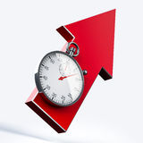 Stopwatch. Classic stopwatch and arrow over neutral background Stock Photo