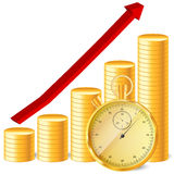 Stopwatch with coins and arrow Royalty Free Stock Photo