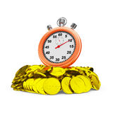 Stopwatch on coins Royalty Free Stock Photo