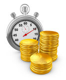 Stopwatch and coins Stock Photos